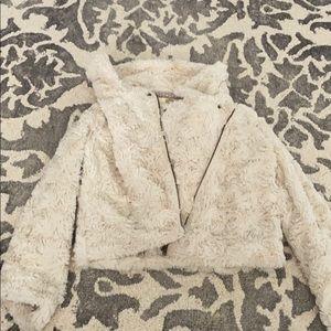 White faux fur zip up jacket | Nordstrom